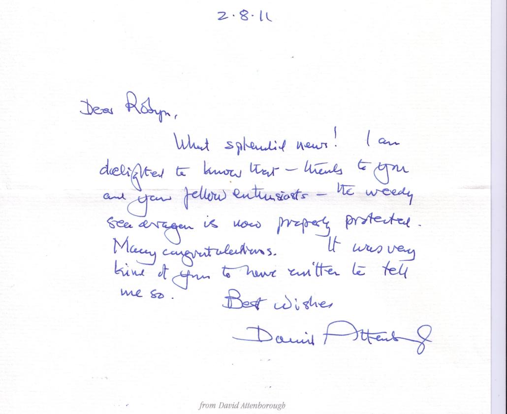 Congratulation letter from David Attenborough