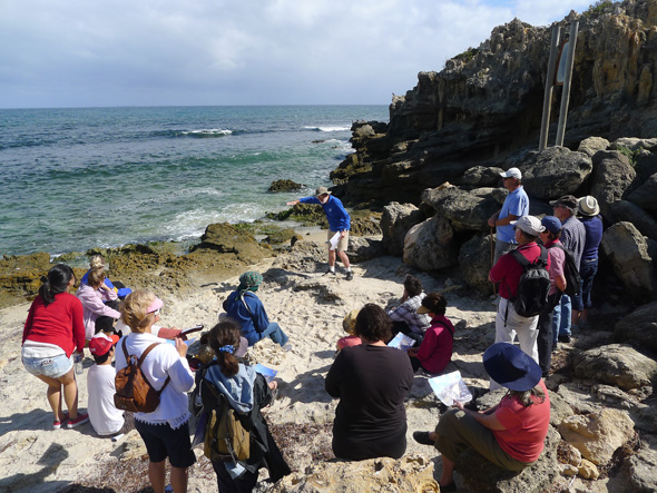 Mike Gregson explaining geological formations at The Cove