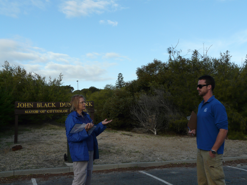 Sue and Alex vegetation mapping at John Black Dune Park