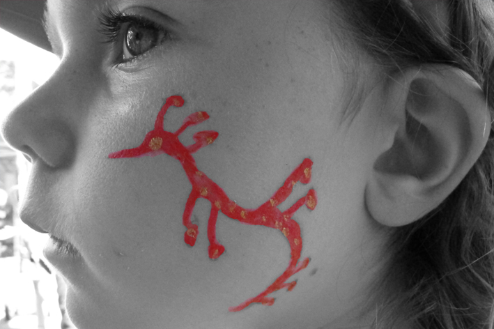 A face painting of our beautiful, protected, weedy seadragon ( photo by Jenita)