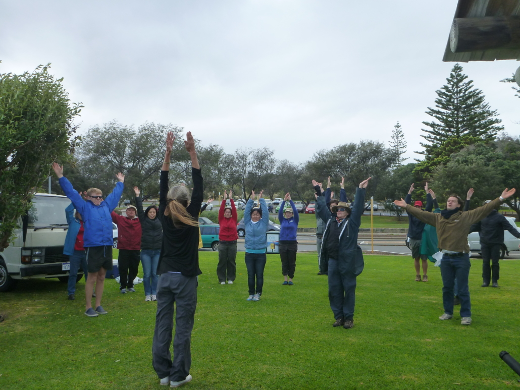 Yoga teacher, Susie Ascott warmed us up with a short yoga session