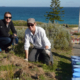 Nikki Pursell (Cottesloe's Sustainability Officer) and Kate planting on the dunes
